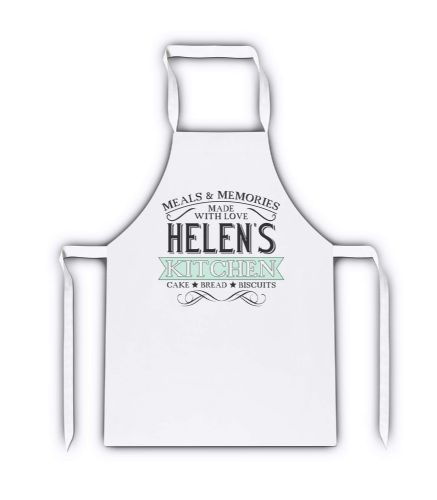 Personalised Any Name Meals & Memories Lovely White Adult Apron